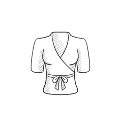 Short female bathrobe sketch icon vector