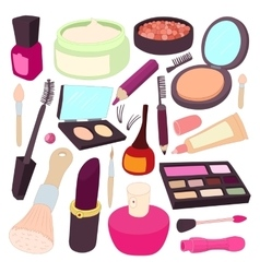 Cosmetic icons set cartoon style vector