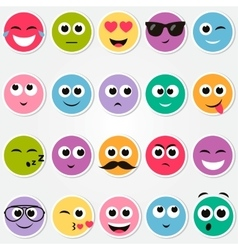 Colorful smiley faces stickers set vector