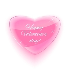 Glass heart for happy valentine day card vector
