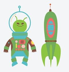 Alien and rocket vector image vector image