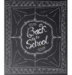 Back to school chalk lettering on black background vector