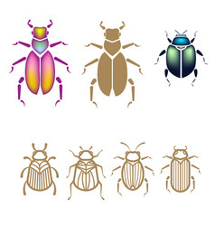 beetle set vector image vector image