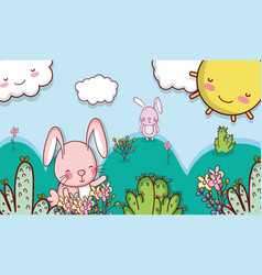Bunny in the forest doodle cartoon vector