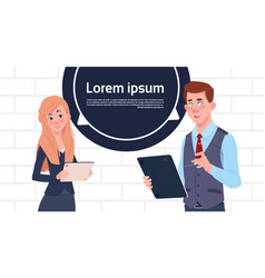 business man and woman holding tablet speak big vector image