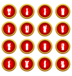Candle forms icon red circle set vector