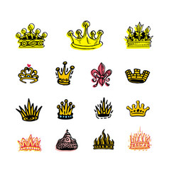 Collection of creative king and queen crowns vector