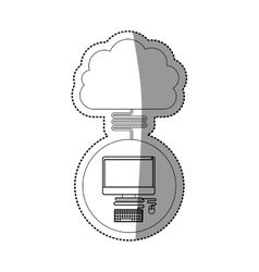 Computer and cloud computing design vector