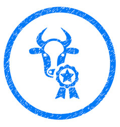 Cow award rounded grainy icon vector