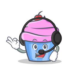 Cupcake character cartoon style with headphone vector