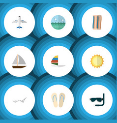 Flat icon beach set of sunshine yacht wiper and vector