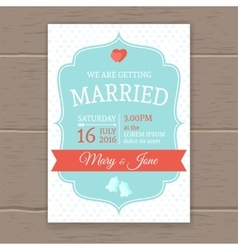 Flat Wedding Invitation vector image vector image