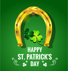 Gold horseshoe with shamrock for st patricks day vector