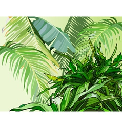 green leaves of tropical plants vector image