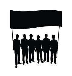 Group people with flag silhouette vector