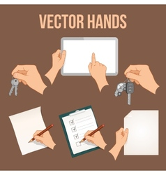 Hands holding objects set vector image vector image