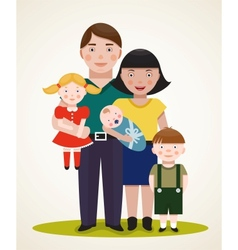Happy Family Parents with Three Children vector image