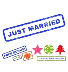Just Married Rubber Stamp vector image vector image