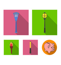 Lamppost in retro style modern lantern torch and vector