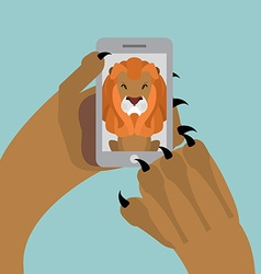Leo selfie Lion photographed themselves on phone vector image vector image