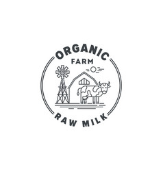 logo organic farm products and raw milk vector image