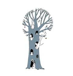 Magic Tree rabbits owl dog and mouse Winter vector image vector image