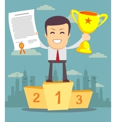Man with gold cup and certificate standing on vector image