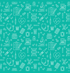 medical seamless pattern blue color clinic vector image vector image