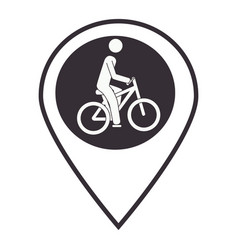 Monochrome map pointer with man in bike vector