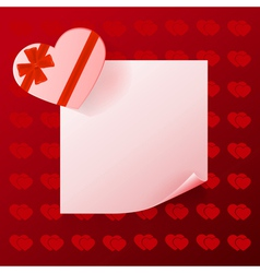 Note with gift on red background with hearts vector image