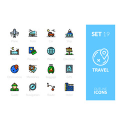 outline color icons set in thin modern style vector image