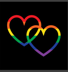 Overlapping rainbow hearts on black vector