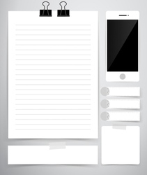 Paper sheet Cute note papers and mobile phone vector image vector image