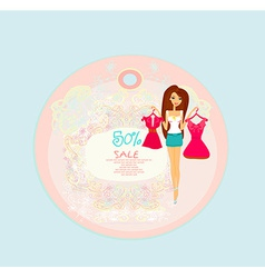 Price Tags With Fashion Girl vector image
