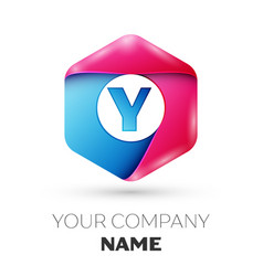 Realistic letter y in colorful hexagonal vector