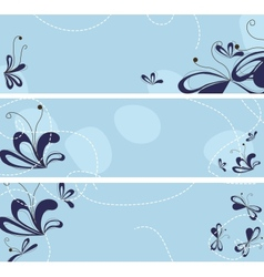 set of banners with abstract flowers vector image