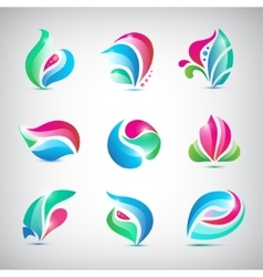 set of colorful abstract spa floral logos vector image