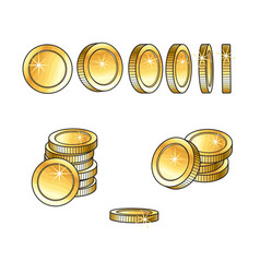 Set of rotating turning gold coins and stakcs vector