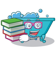 Student with book bathtub character cartoon style vector