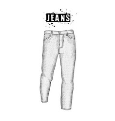 Vintage mens jeans in front views isolated on vector