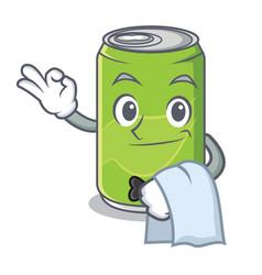Waiter soft drink character cartoon vector