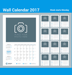 Wall calendar planner template for 2017 year set vector