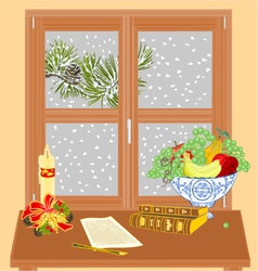 Winter window manuscript and rare books vector