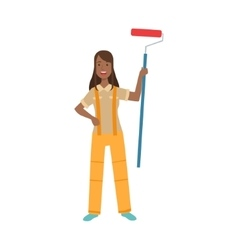 Woman Home Painter With Painting Roll Part Of vector image vector image