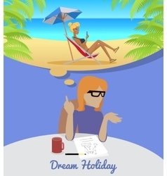 Woman sitting and dreaming about rest holiday vector