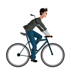 Young man riding bicyle with suit and glasses vector