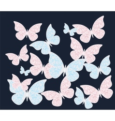Colorful butterflies with ornament patterns vector image