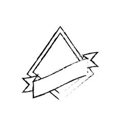 Shield star quality badge ribbon sketch vector