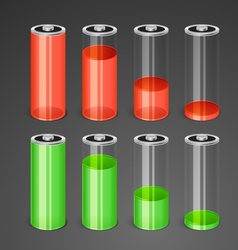 Batteries with different level of charge vector image