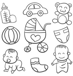 Doodle of baby object art vector